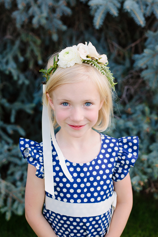 blue and white polka dot flower girl dress with flower halo