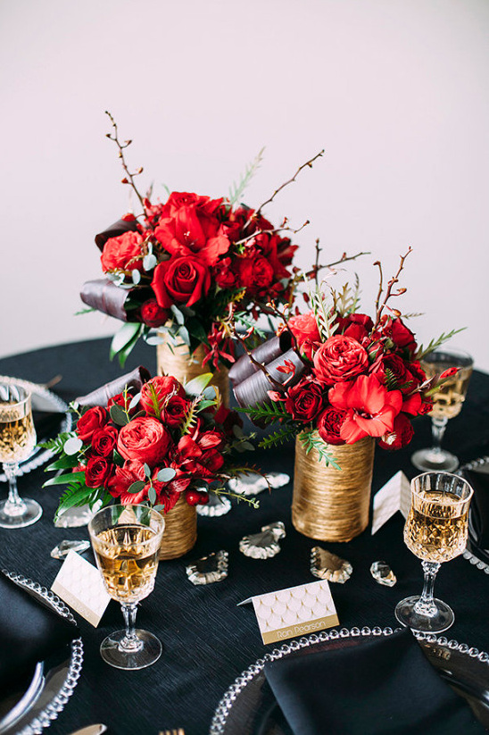 cluster of gold and red centerpieces