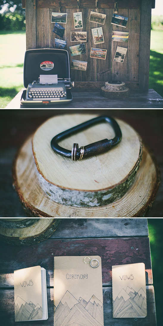 rustic welcome table and carabiner wedding ring display