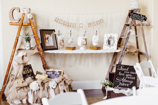 candy bar and photo display