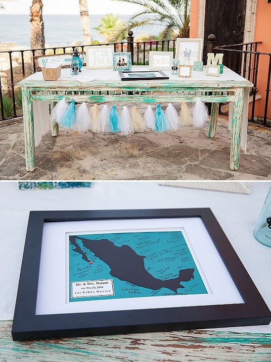 beach welcome table with guestbook map
