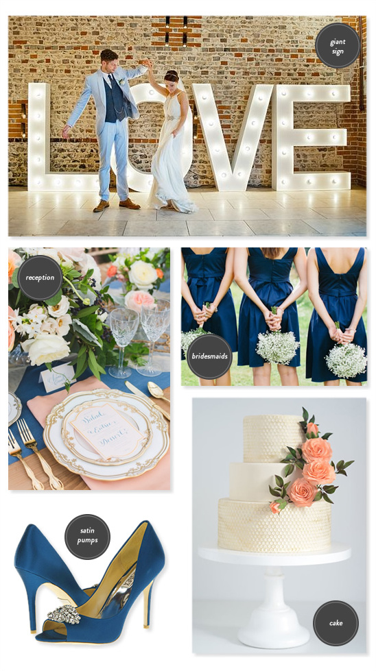 navy and peach wedding ideas