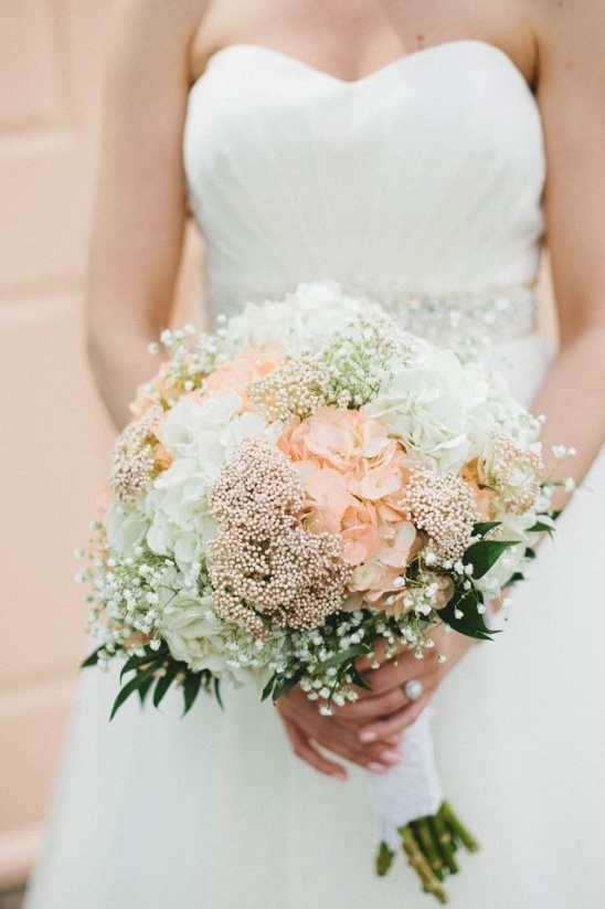 peach and white wedding bouquet
