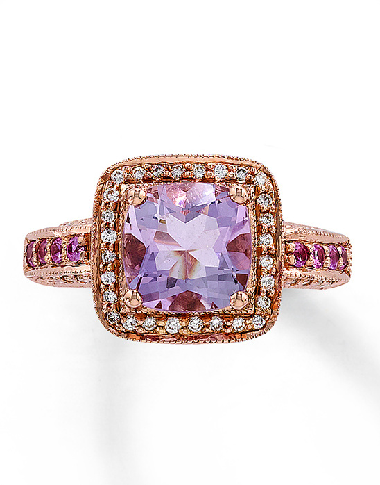 rose gold engagement ring with purple stone