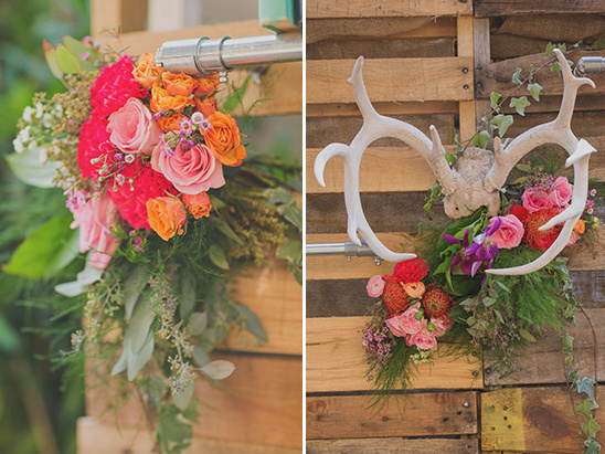 rustic floral accented backdrop