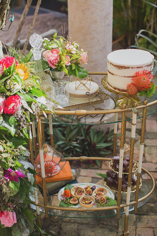 glam food cart used as cake table