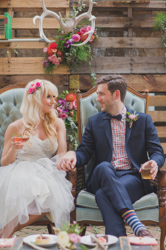bride and groom with cocktails