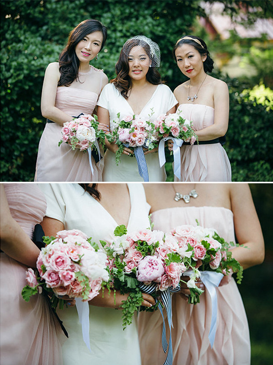 pink bridesmaids dresses with black sash