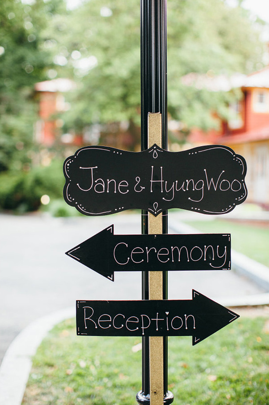 black and gold wedding sign