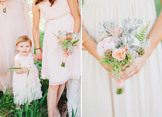 pastel bouquet and cute flower girl