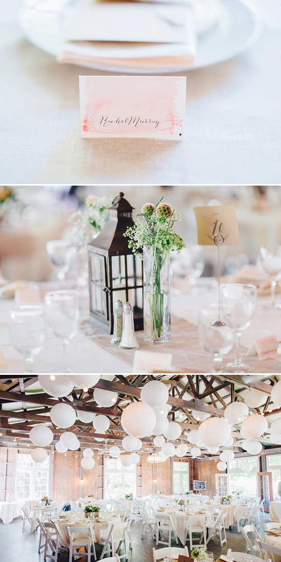 pink and white rustic reception decor