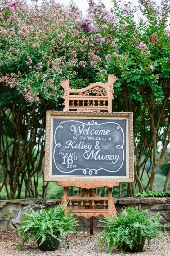 vintage framed chalkboard wedding sign