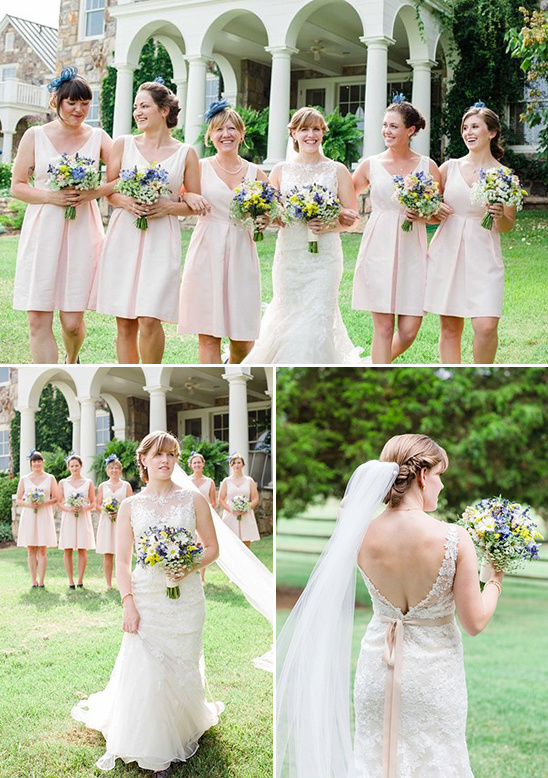 Stella York wedding dress and light peach bridesmaids