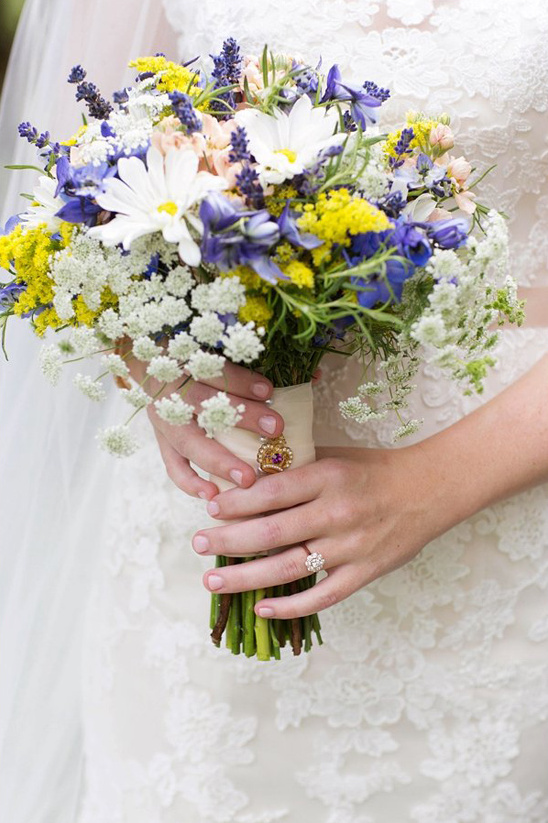 blue yellow and white bouquet