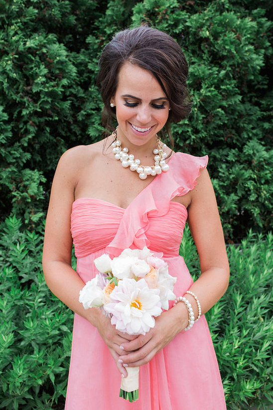 pink bridesmaid with peony bouquet