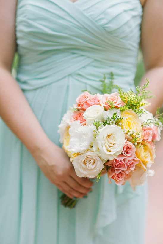 pink white and yellow bridesmaid bouquet