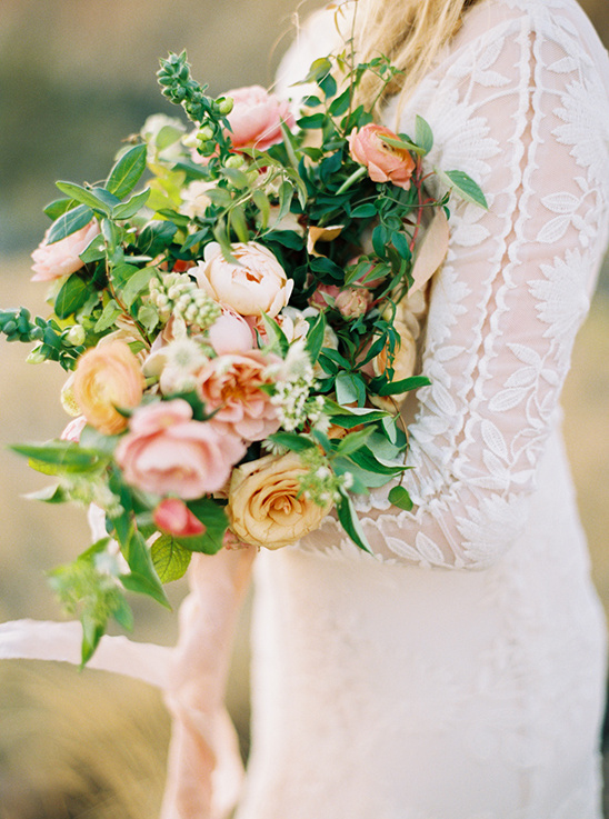 organic and colorful wedding bouquet