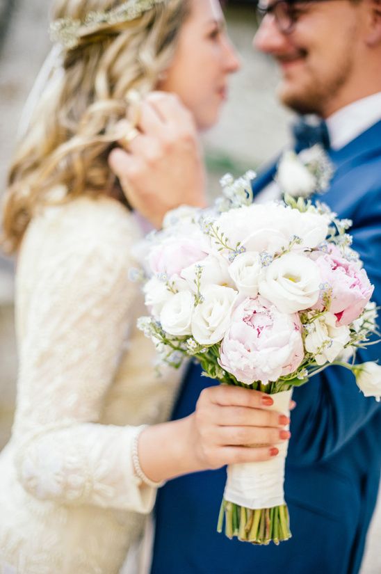 white light pink and blue bouquet