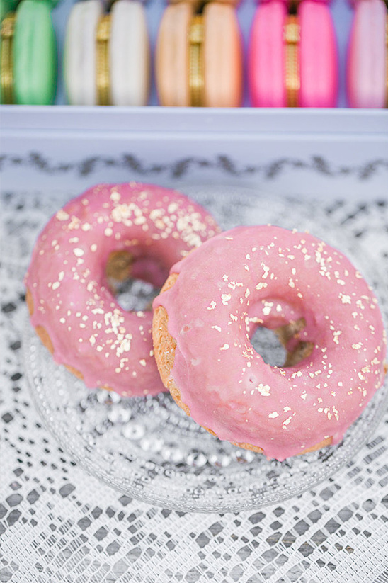 pink and gold donuts