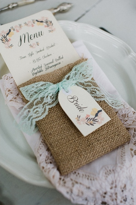 burlap and lace menu pocket