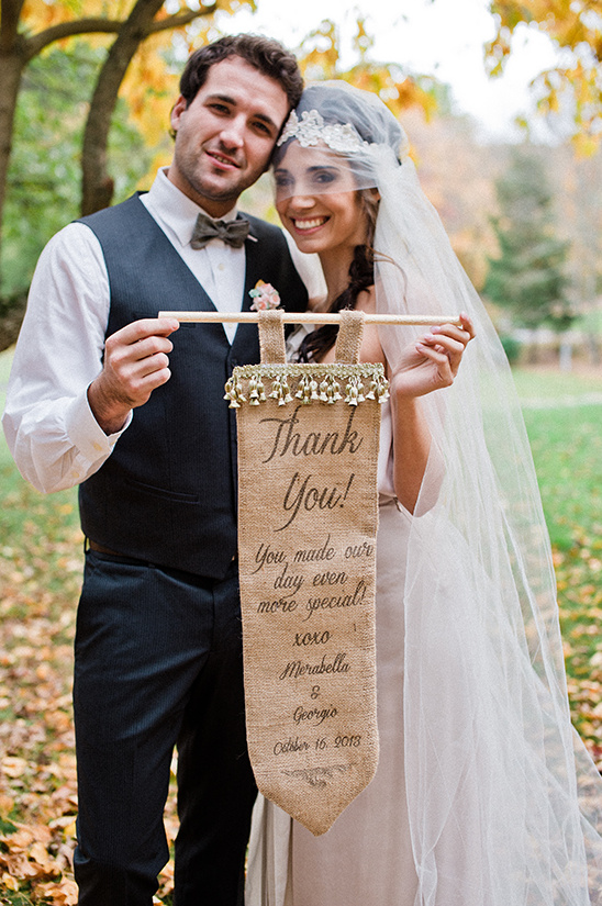 burlap thank you sign