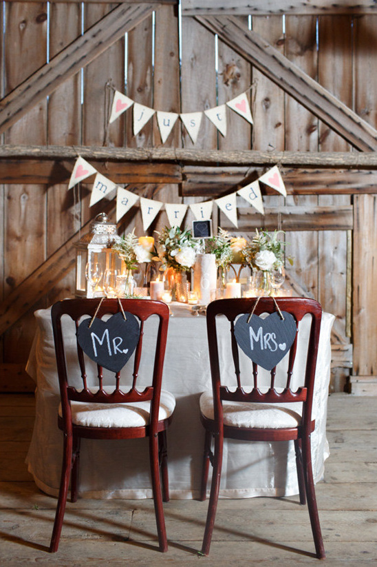 cute rustic sweetheart table