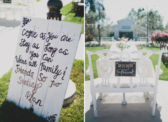 seating sign and just married seat sign