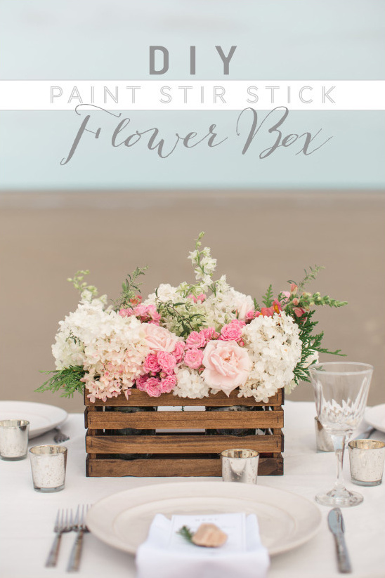 Diy paint stir stick flower box for Wedding table design tool