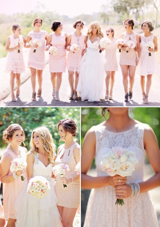soft pink bridesmaids in assorted dress styles