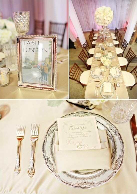 city named tables with glam silver and white decor
