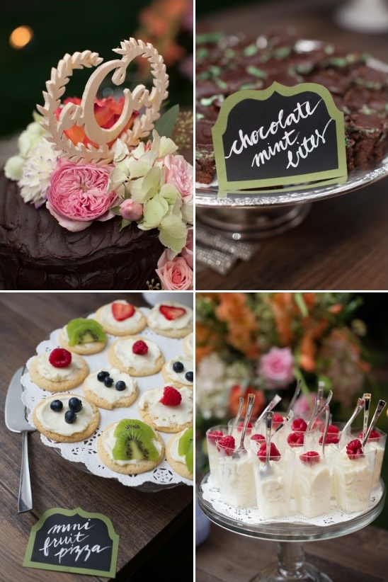 wooden cake topper and calligraphy dessert labels