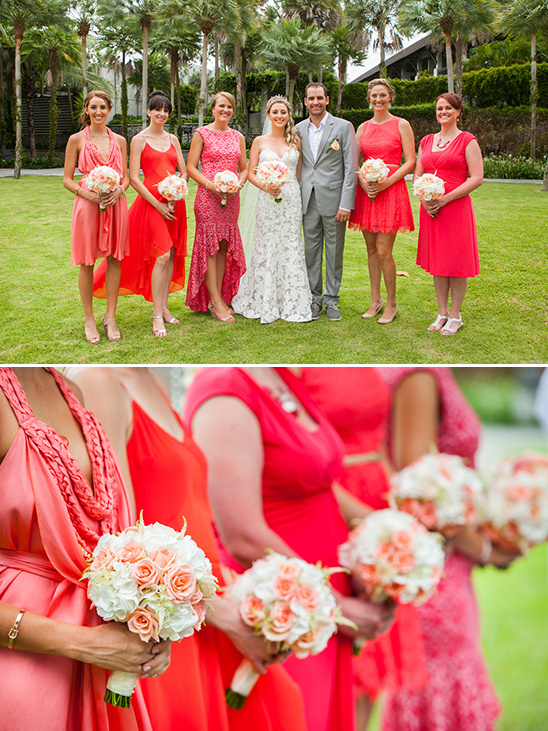 bright red bridesmaids