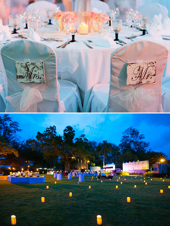 mr and mrs seat signs and lantern lit reception