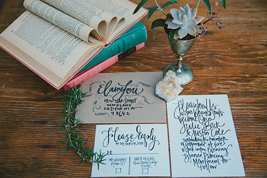 hand scripted wedding invites