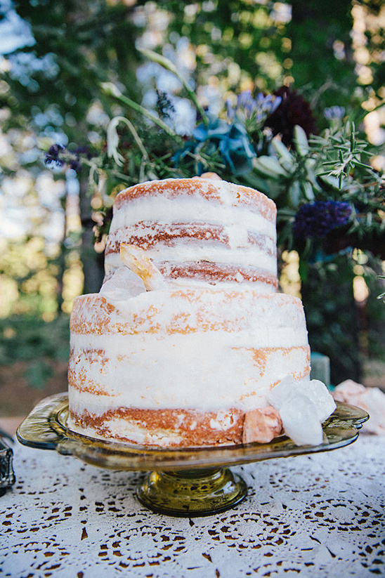 quartz accented naked cake