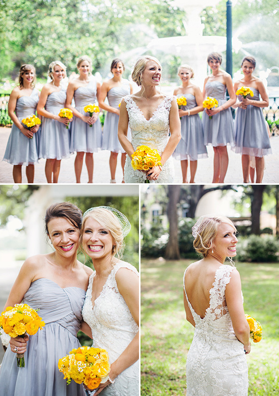 grey and yellow bridesmaids