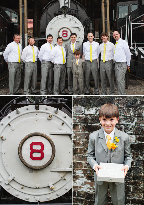 grey and yellow groomsmen