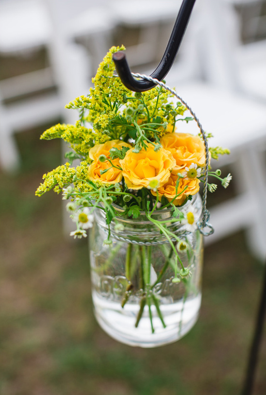 mason jar flower vase aisle decor