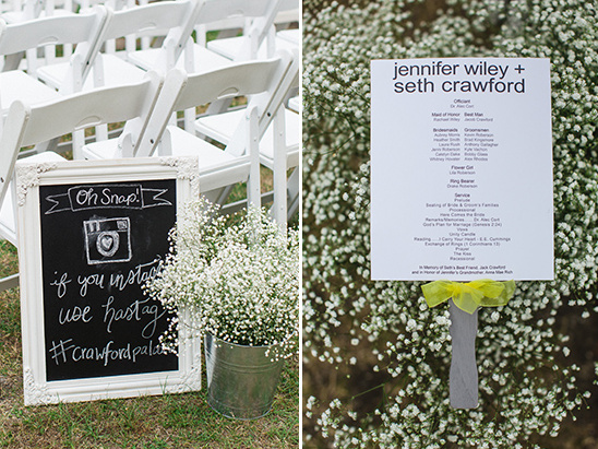 instagram sign and wedding program