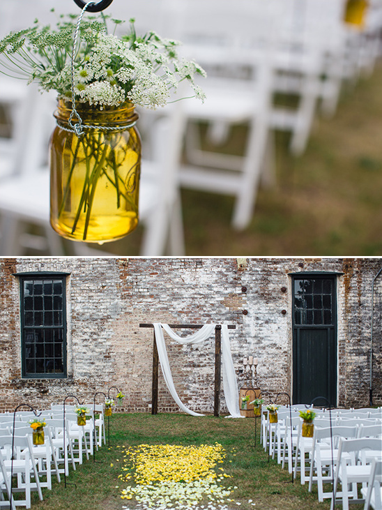 ombre flower petal aisle decor