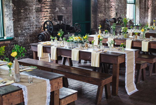 train station rustic industrial reception