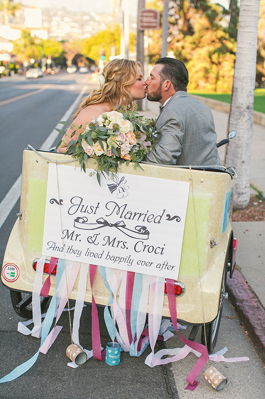 cute bicycle cab just married sign