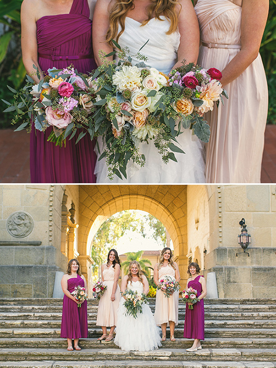 purple and blush bridesmaid dresses