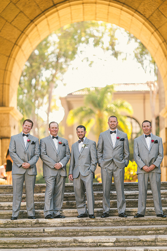 grey tuxedo suits with black bow ties