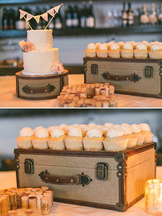 use a suitcase for cupcake stand