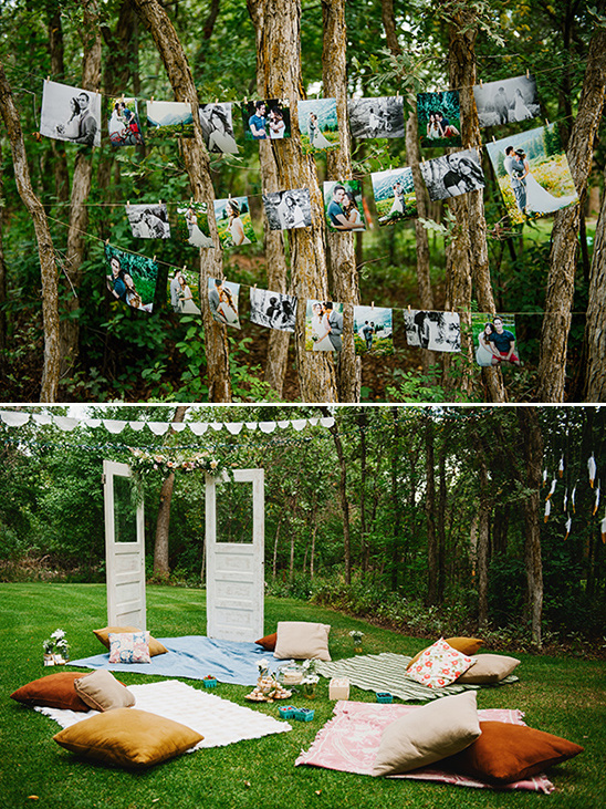 picnic style seating and photo display