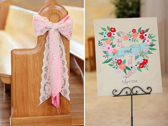 lace bow aisle decor and handpainted sign