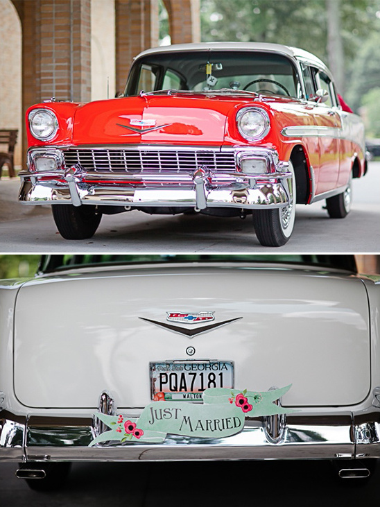 retro wedding wheels with a just married sign