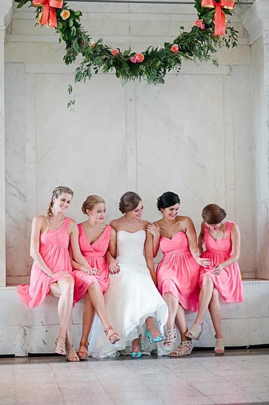 cocktail length bridesmaid dresses in pink