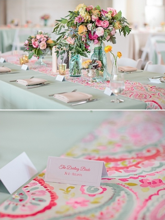 pink and mint table decor